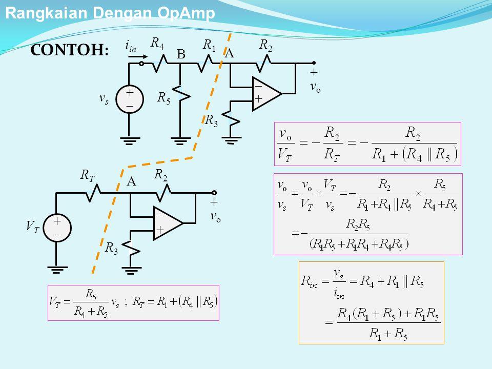 R2R2 ++ ++ +vo+vo R1R1 R3R3 vsvs A i in R4R4 R5R5 B R2R2 ++ ++ +vo+vo R3R3 VTVT A RTRT CONTOH: Rangkaian Dengan OpAmp