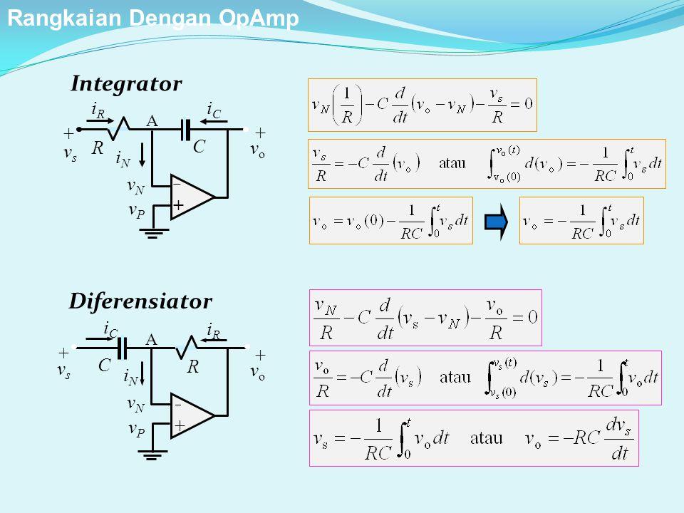 Integrator C ++ iRiR iNiN vPvP +vs+vs vNvN R + v o iCiC A Diferensiator C ++ iCiC iNiN vPvP +vs+vs vNvN R + v o iRiR A Rangkaian Dengan OpAmp