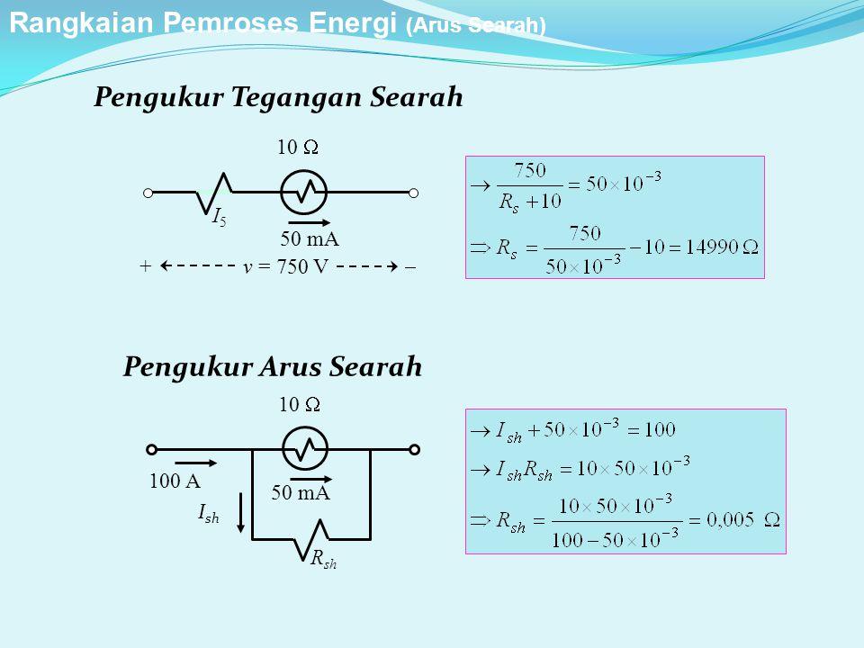 Pengukur Tegangan Searah Pengukur Arus Searah 50 mA R sh 10  100 A I sh 50 mA I5I5 10  + v = 750 V  Rangkaian Pemroses Energi (Arus Searah)