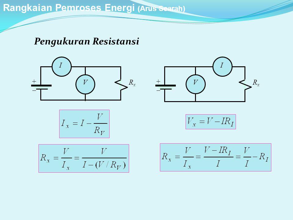 Pengukuran Resistansi ++ I V RxRx ++ I V RxRx Rangkaian Pemroses Energi (Arus Searah)