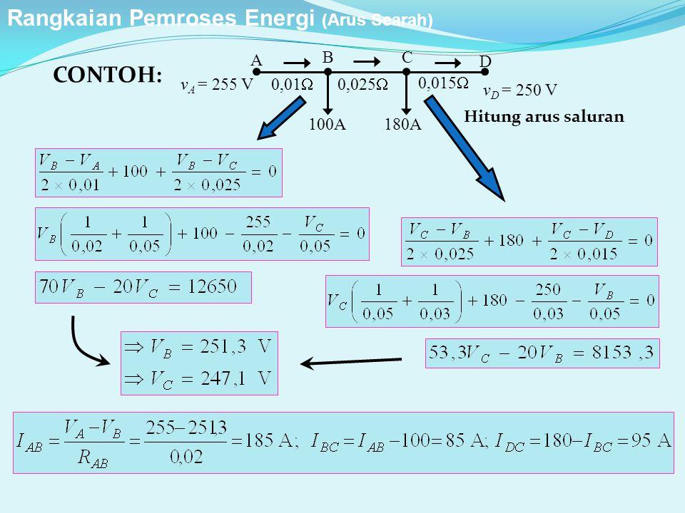 100A 0,01  0,025  0,015  A D BC 180A v D = 250 V v A = 255 V CONTOH: Hitung arus saluran Rangkaian Pemroses Energi (Arus Searah)