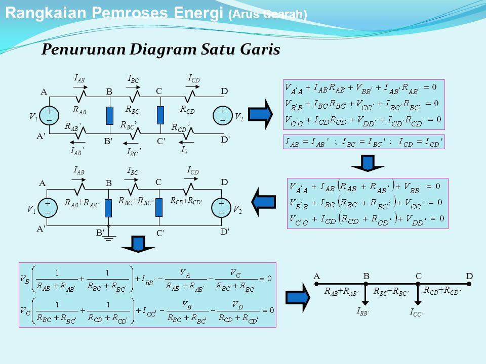 Penurunan Diagram Satu Garis ++ ++ A A' B'C' D' B CD R AB V1V1 V2V2 I AB I BC I CD R CD R AB ' R CD ' I AB ' I BC ' I5I5 R BC ' R BC ++ ++ A A