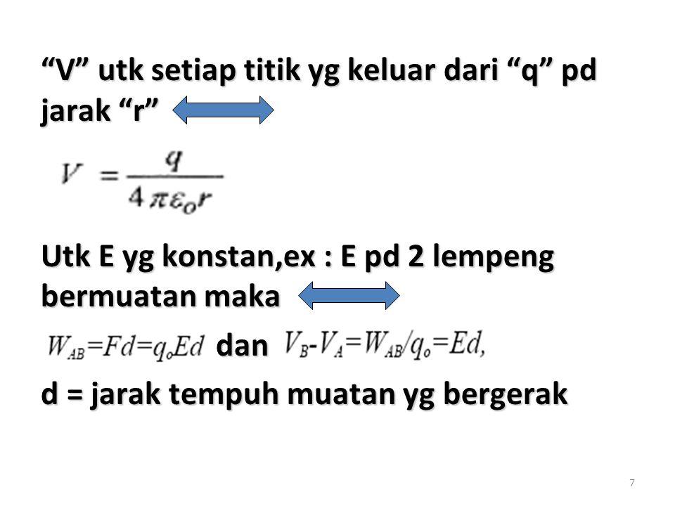 "7 ""V"" utk setiap titik yg keluar dari ""q"" pd jarak ""r"" Utk E yg konstan,ex : E pd 2 lempeng bermuatan maka dan dan d = jarak tempuh muatan yg bergerak"