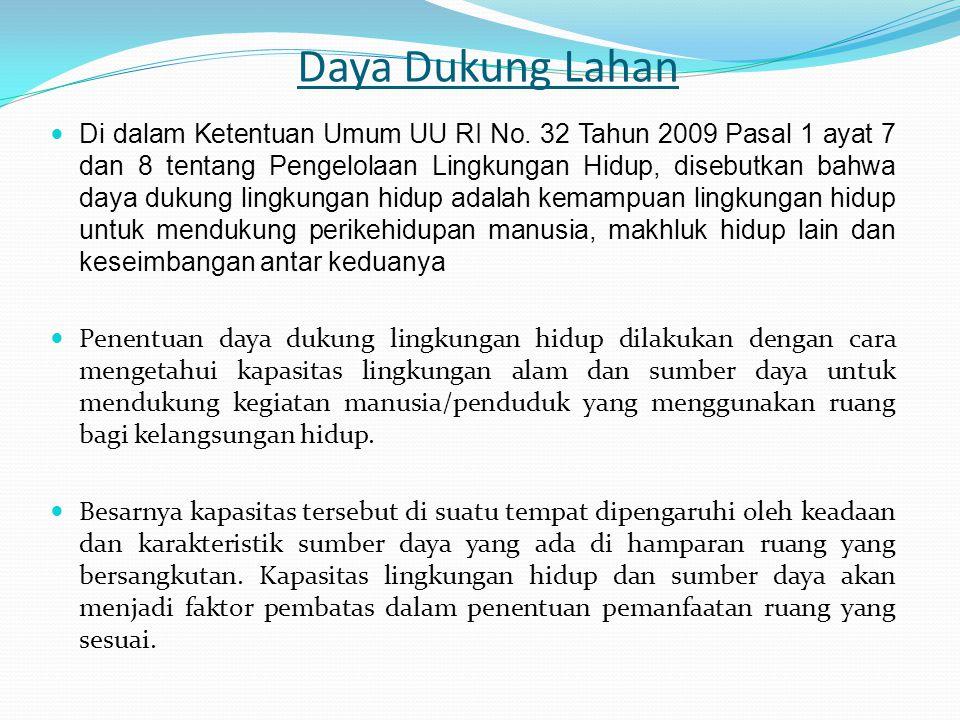 Daya Dukung Lahan Di dalam Ketentuan Umum UU RI No. 32 Tahun 2009 Pasal 1 ayat 7 dan 8 tentang Pengelolaan Lingkungan Hidup, disebutkan bahwa daya duk