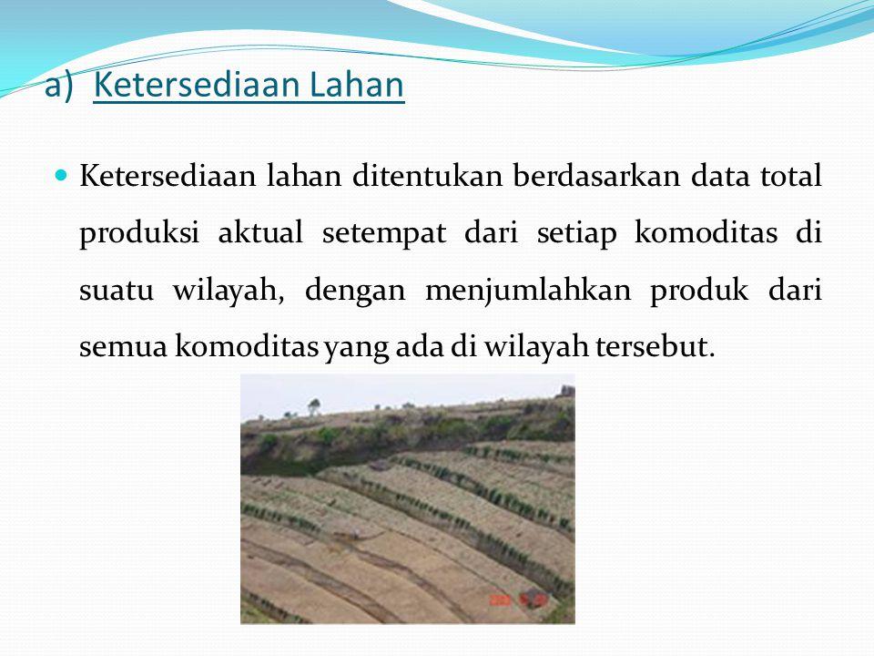 a)Ketersediaan Lahan Ketersediaan lahan ditentukan berdasarkan data total produksi aktual setempat dari setiap komoditas di suatu wilayah, dengan menj