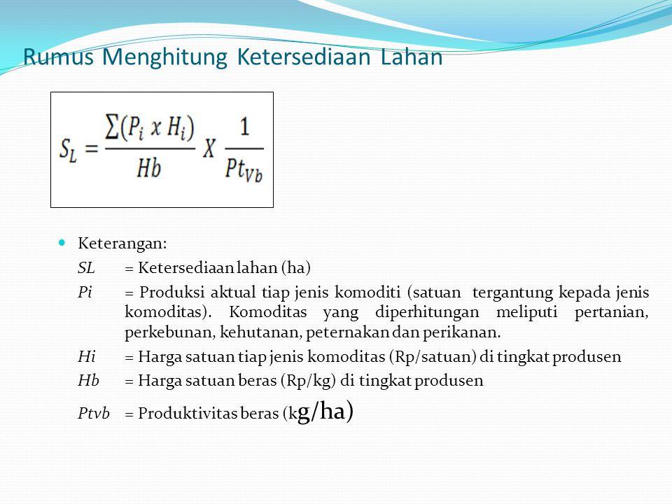 Rumus Menghitung Ketersediaan Lahan Keterangan: SL = Ketersediaan lahan (ha) Pi = Produksi aktual tiap jenis komoditi (satuan tergantung kepada jenis