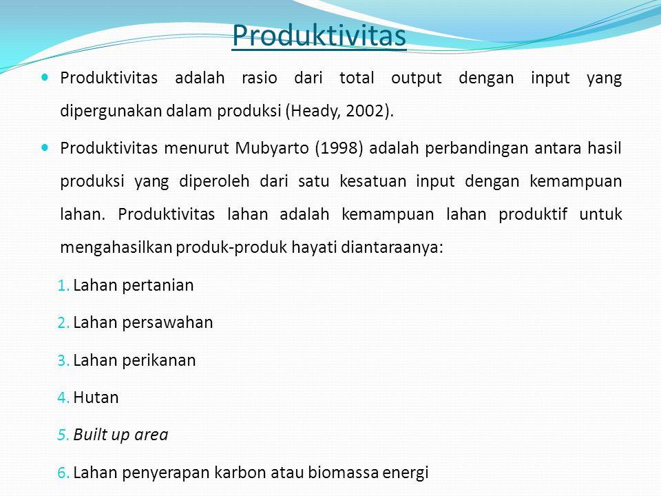 Produktivitas Produktivitas adalah rasio dari total output dengan input yang dipergunakan dalam produksi (Heady, 2002). Produktivitas menurut Mubyarto