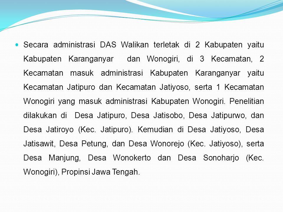 Secara administrasi DAS Walikan terletak di 2 Kabupaten yaitu Kabupaten Karanganyar dan Wonogiri, di 3 Kecamatan, 2 Kecamatan masuk administrasi Kabup