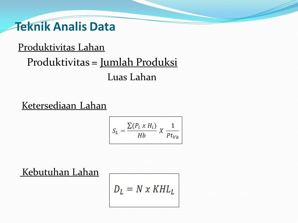 Teknik Analis Data Produktivitas Lahan Produktivitas = Jumlah Produksi Luas Lahan Ketersediaan Lahan Kebutuhan Lahan