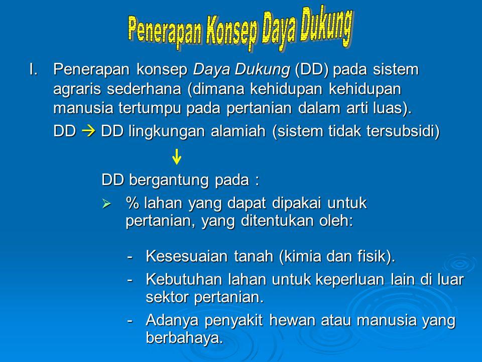 I.Penerapan konsep Daya Dukung (DD) pada sistem agraris sederhana (dimana kehidupan kehidupan manusia tertumpu pada pertanian dalam arti luas). DD  D