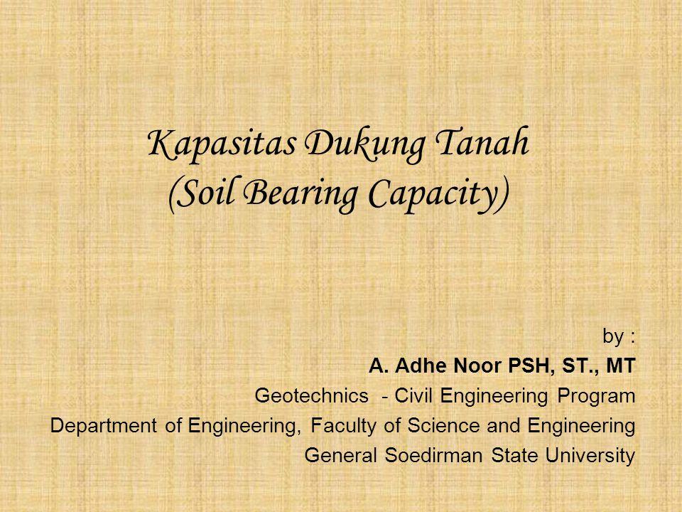 Kapasitas Dukung Tanah (Soil Bearing Capacity) by : A. Adhe Noor PSH, ST., MT Geotechnics - Civil Engineering Program Department of Engineering, Facul