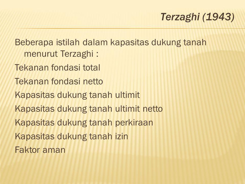 Beberapa istilah dalam kapasitas dukung tanah menurut Terzaghi : Tekanan fondasi total Tekanan fondasi netto Kapasitas dukung tanah ultimit Kapasitas
