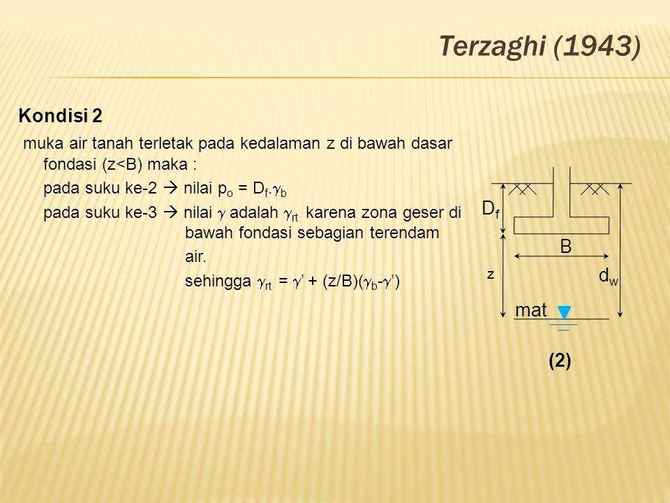 B z dwdw mat DfDf (2) Terzaghi (1943) Kondisi 2 muka air tanah terletak pada kedalaman z di bawah dasar fondasi (z<B) maka : pada suku ke-2  nilai p