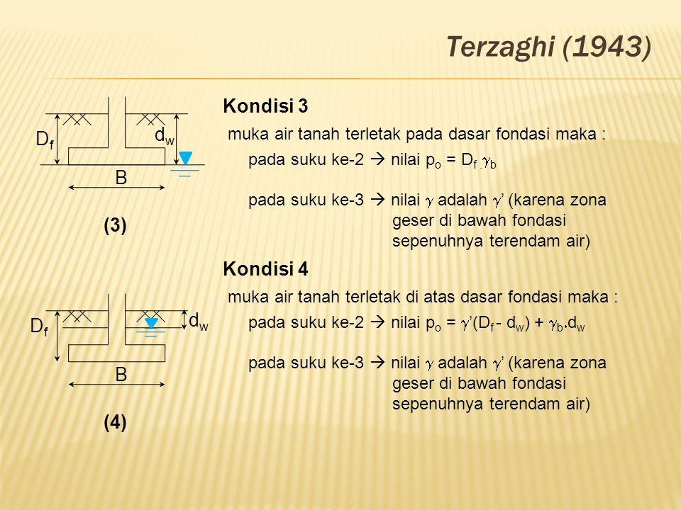 B dwdw DfDf (3) Terzaghi (1943) Kondisi 3 muka air tanah terletak pada dasar fondasi maka : pada suku ke-2  nilai p o = D f.  b pada suku ke-3  nil