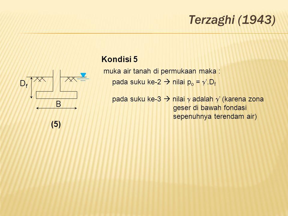 Terzaghi (1943) DfDf B (5) Kondisi 5 muka air tanah di permukaan maka : pada suku ke-2  nilai p o =  '.D f pada suku ke-3  nilai  adalah  ' (kare
