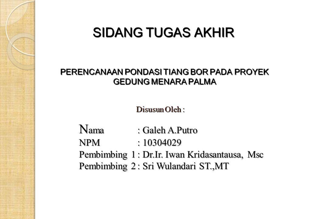 SIDANG TUGAS AKHIR N ama: Galeh A.Putro NPM: 10304029 Pembimbing 1: Dr.Ir.
