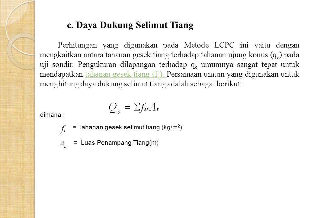 dimana : = Tahanan gesek selimut tiang (kg/m 2 ) = Luas Penampang Tiang(m) c.