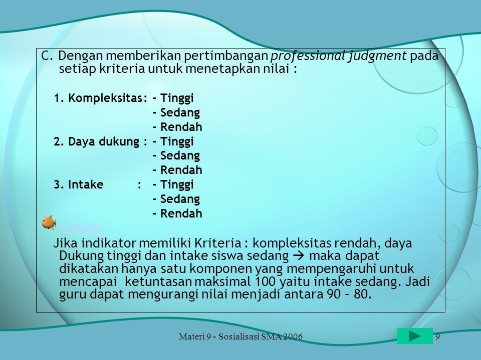 Materi 9 - Sosialisasi SMA 20069 C. Dengan memberikan pertimbangan professional judgment pada setiap kriteria untuk menetapkan nilai : 1. Kompleksitas