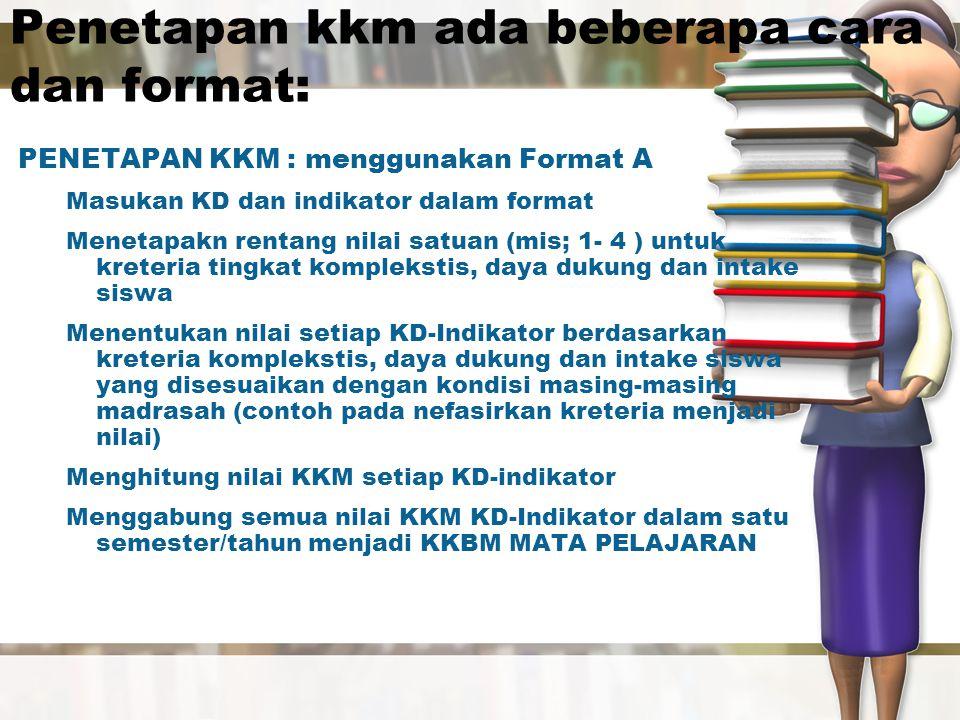 Penetapan kkm ada beberapa cara dan format: PENETAPAN KKM : menggunakan Format A Masukan KD dan indikator dalam format Menetapakn rentang nilai satuan