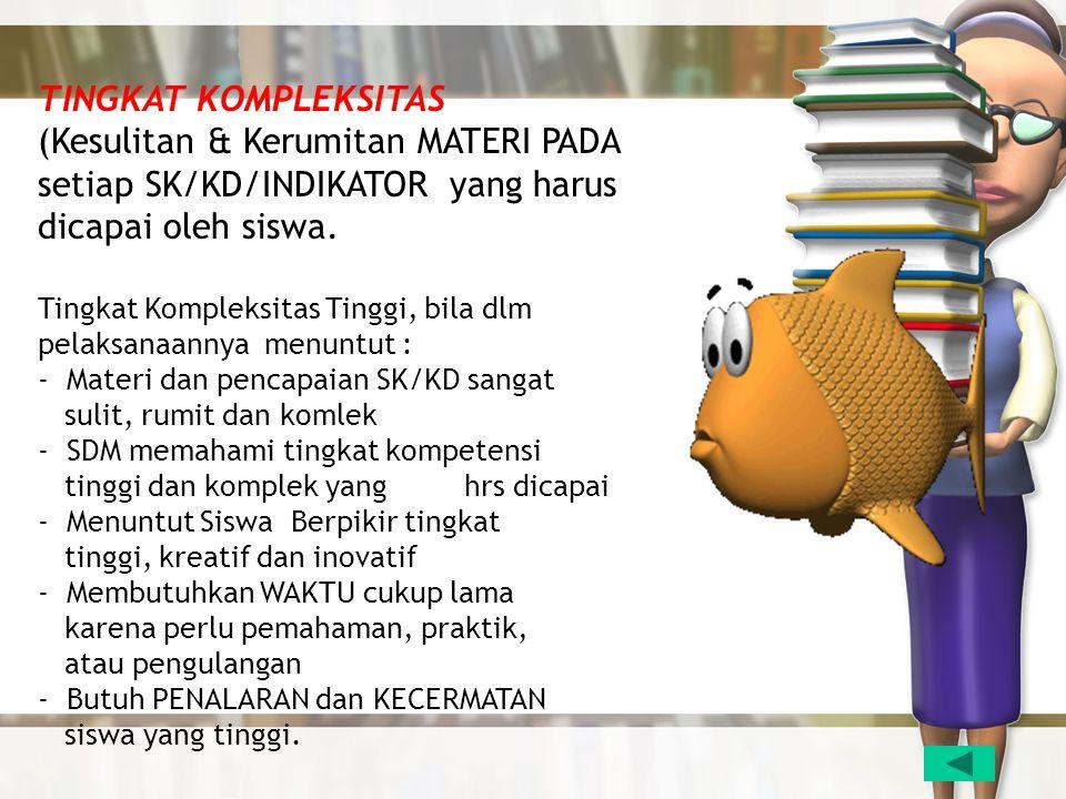 TINGKAT KOMPLEKSITAS (Kesulitan & Kerumitan MATERI PADA setiap SK/KD/INDIKATOR yang harus dicapai oleh siswa. Tingkat Kompleksitas Tinggi, bila dlm pe