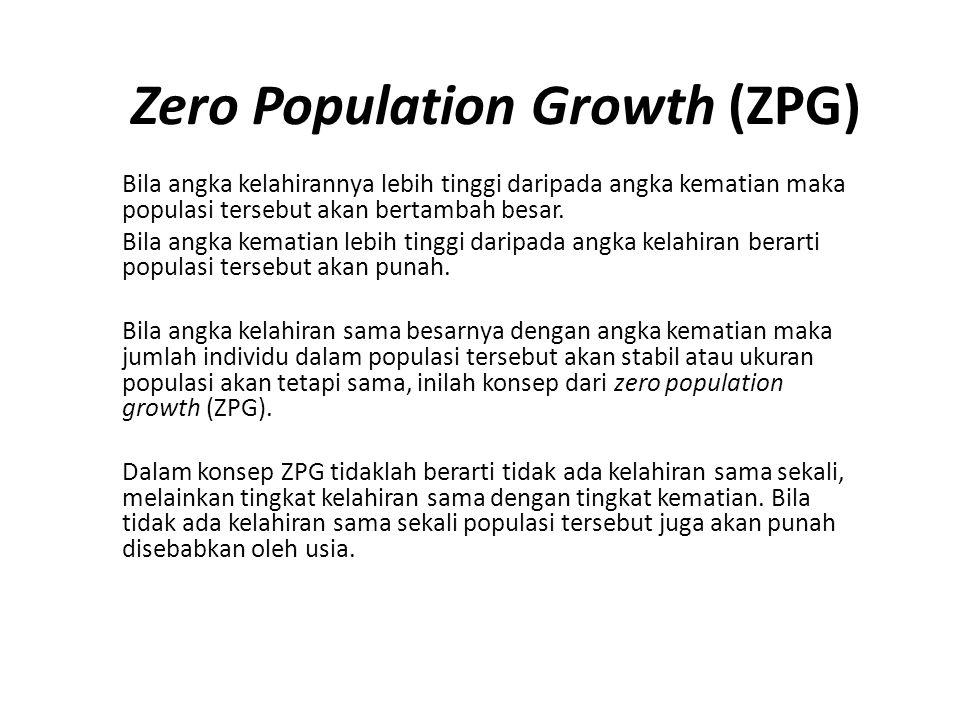 Zero Population Growth (ZPG) Bila angka kelahirannya lebih tinggi daripada angka kematian maka populasi tersebut akan bertambah besar. Bila angka kema