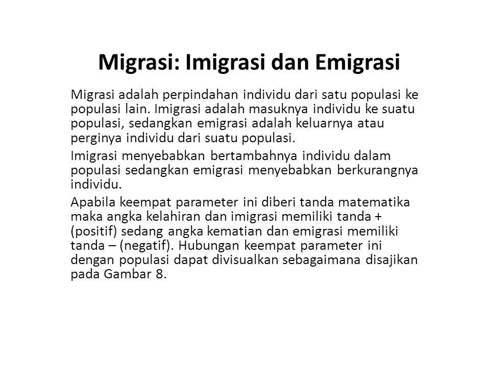 Migrasi: Imigrasi dan Emigrasi Migrasi adalah perpindahan individu dari satu populasi ke populasi lain. Imigrasi adalah masuknya individu ke suatu pop