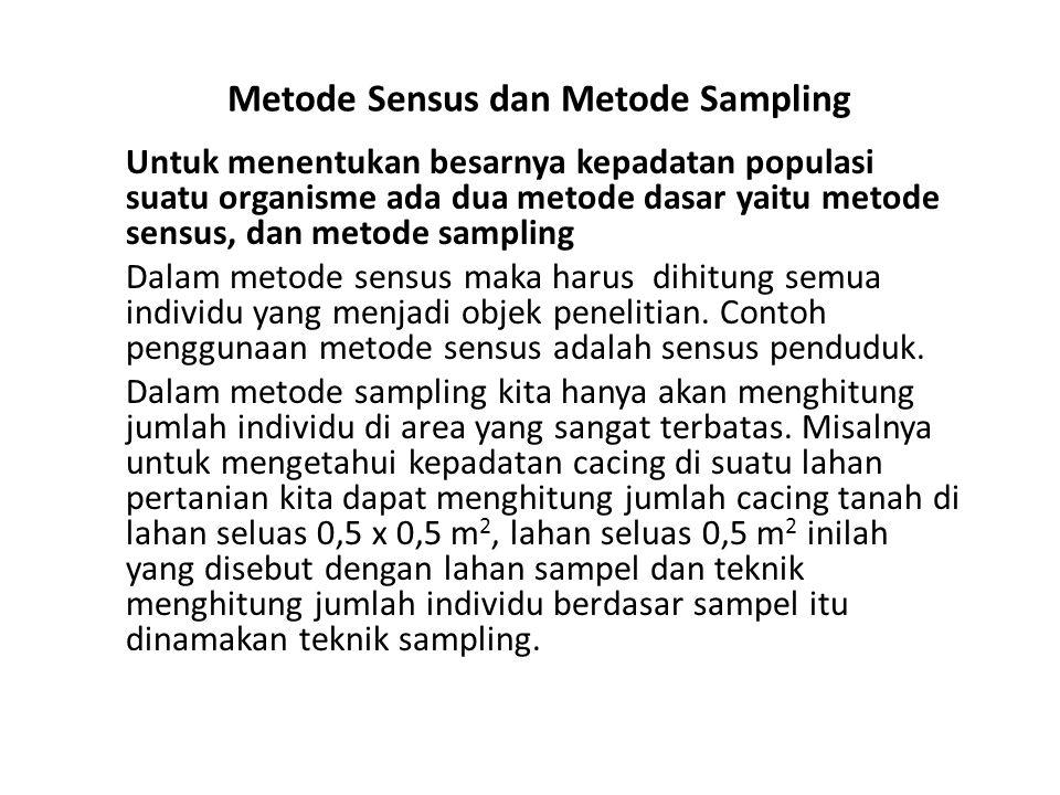 Metode Sensus dan Metode Sampling Untuk menentukan besarnya kepadatan populasi suatu organisme ada dua metode dasar yaitu metode sensus, dan metode sampling Dalam metode sensus maka harus dihitung semua individu yang menjadi objek penelitian.
