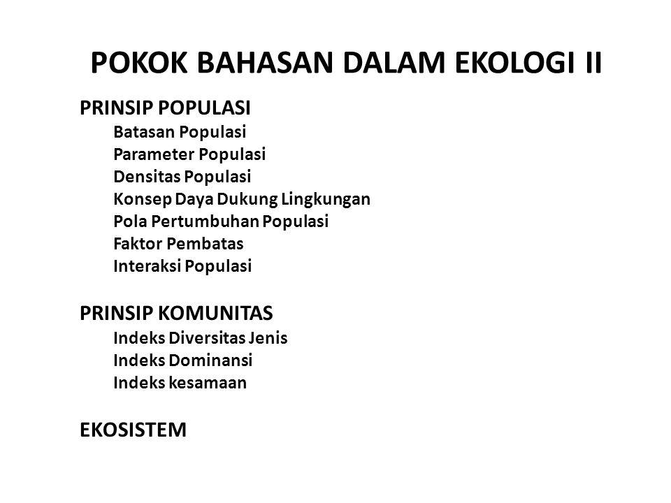 POKOK BAHASAN DALAM EKOLOGI II PRINSIP POPULASI Batasan Populasi Parameter Populasi Densitas Populasi Konsep Daya Dukung Lingkungan Pola Pertumbuhan P