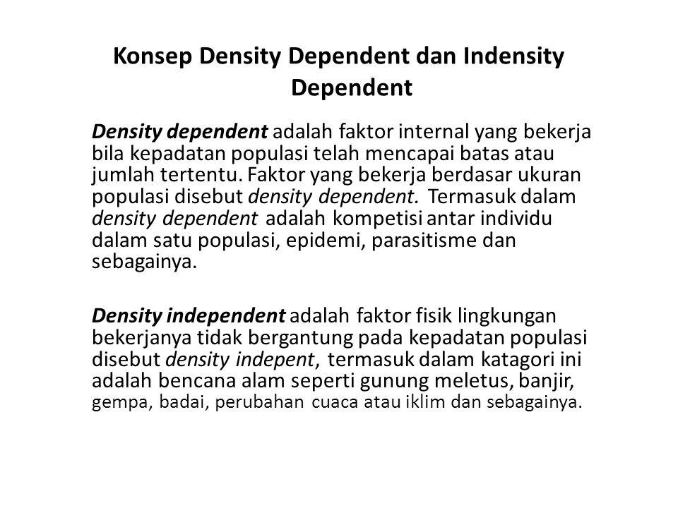 Konsep Density Dependent dan Indensity Dependent Density dependent adalah faktor internal yang bekerja bila kepadatan populasi telah mencapai batas atau jumlah tertentu.