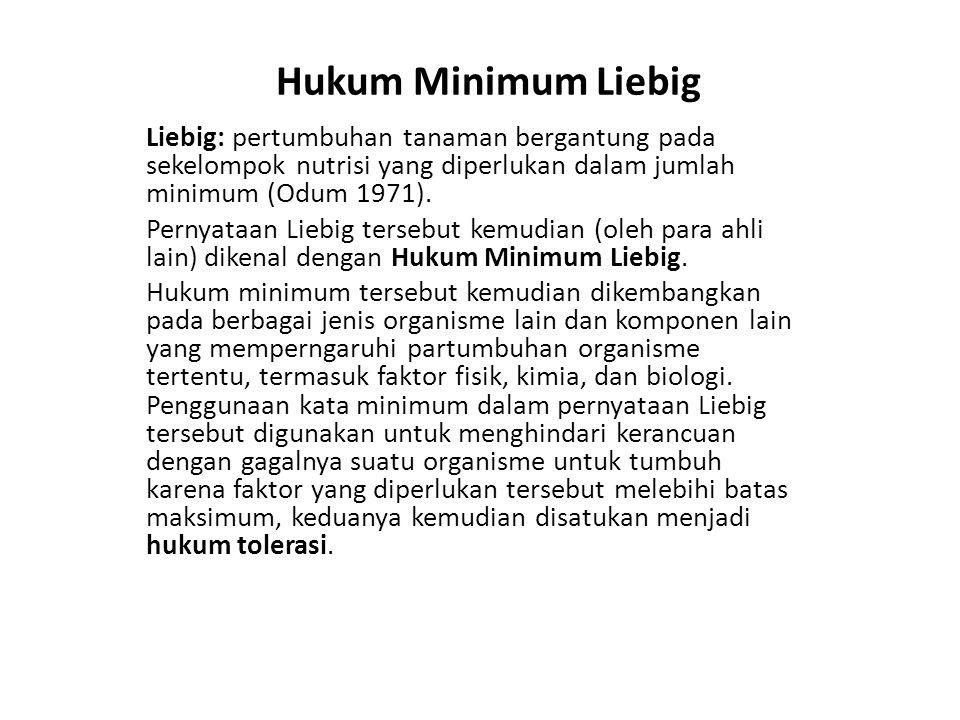 Hukum Minimum Liebig Liebig: pertumbuhan tanaman bergantung pada sekelompok nutrisi yang diperlukan dalam jumlah minimum (Odum 1971). Pernyataan Liebi