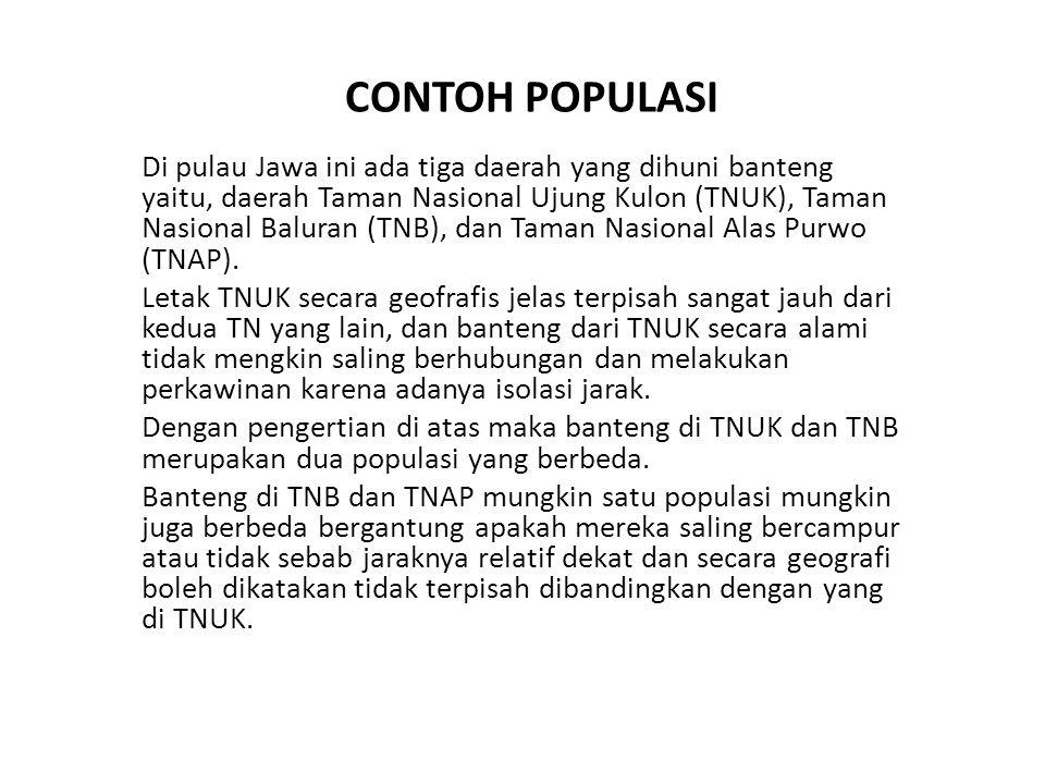 CONTOH POPULASI Di pulau Jawa ini ada tiga daerah yang dihuni banteng yaitu, daerah Taman Nasional Ujung Kulon (TNUK), Taman Nasional Baluran (TNB), dan Taman Nasional Alas Purwo (TNAP).