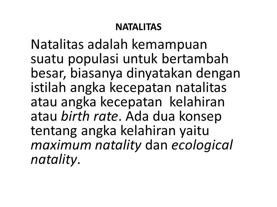 NATALITAS Natalitas adalah kemampuan suatu populasi untuk bertambah besar, biasanya dinyatakan dengan istilah angka kecepatan natalitas atau angka kecepatan kelahiran atau birth rate.