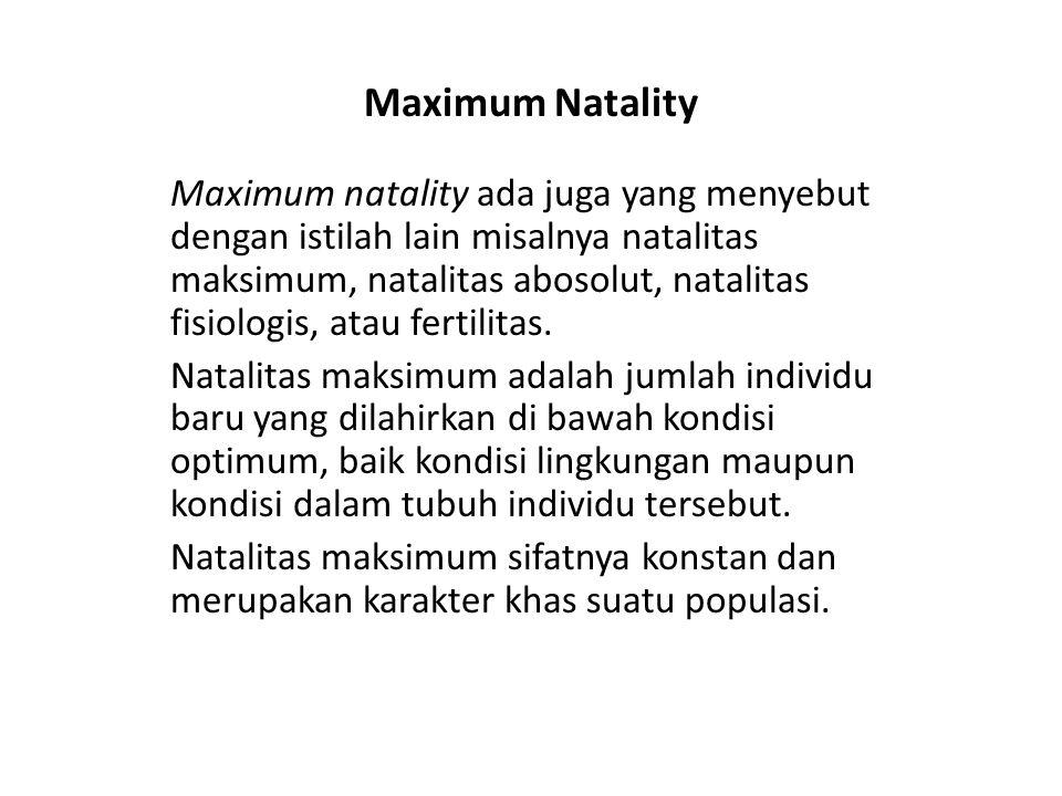 Maximum Natality Maximum natality ada juga yang menyebut dengan istilah lain misalnya natalitas maksimum, natalitas abosolut, natalitas fisiologis, at