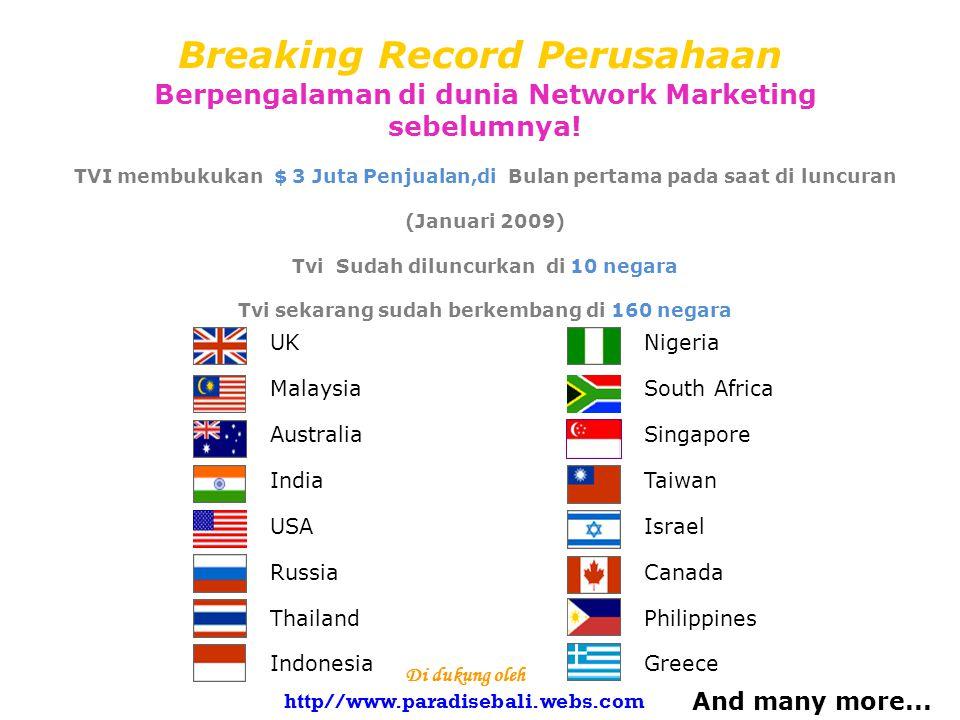 Breaking Record Perusahaan Berpengalaman di dunia Network Marketing sebelumnya.