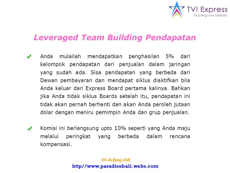 Leveraged Team Building Pendapatan Anda mulailah mendapatkan penghasilan 5% dari kelompok pendapatan dari penjualan dalam jaringan yang sudah ada.