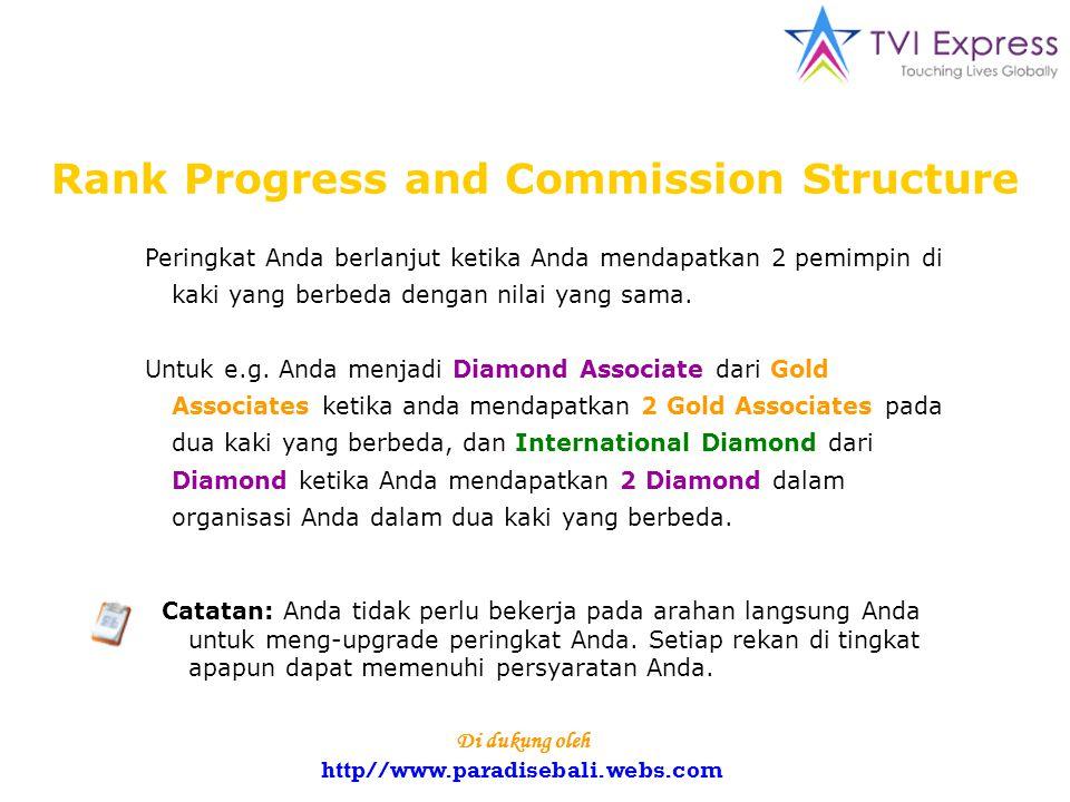 Rank Progress and Commission Structure Peringkat Anda berlanjut ketika Anda mendapatkan 2 pemimpin di kaki yang berbeda dengan nilai yang sama.