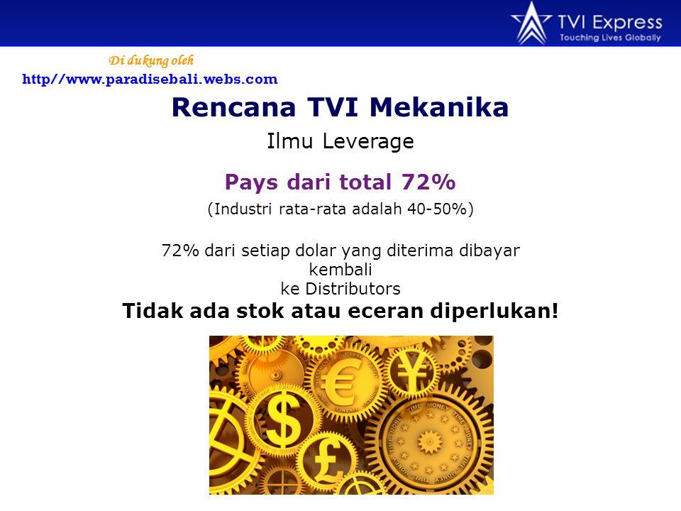 Rencana TVI Mekanika Ilmu Leverage (Industri rata-rata adalah 40-50%) Pays dari total 72% 72% dari setiap dolar yang diterima dibayar kembali ke Distributors Tidak ada stok atau eceran diperlukan.