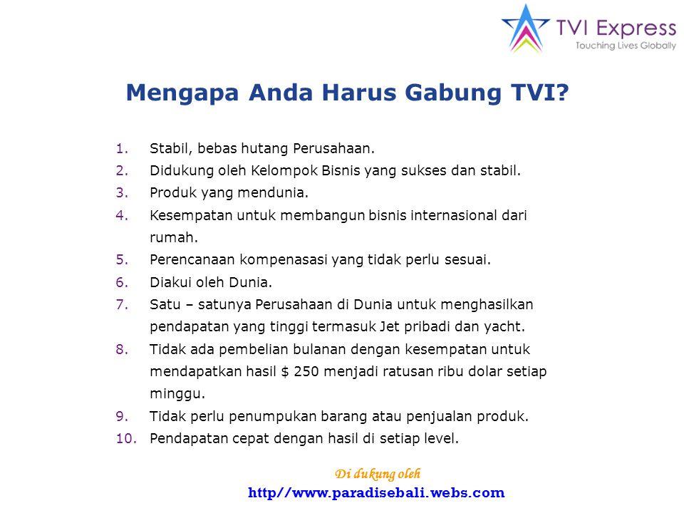 Mengapa Anda Harus Gabung TVI. 1.Stabil, bebas hutang Perusahaan.