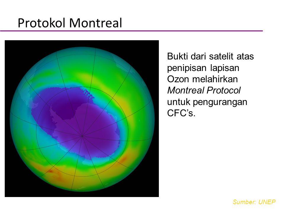 Body text Bukti dari satelit atas penipisan lapisan Ozon melahirkan Montreal Protocol untuk pengurangan CFC's. Protokol Montreal Sumber: UNEP