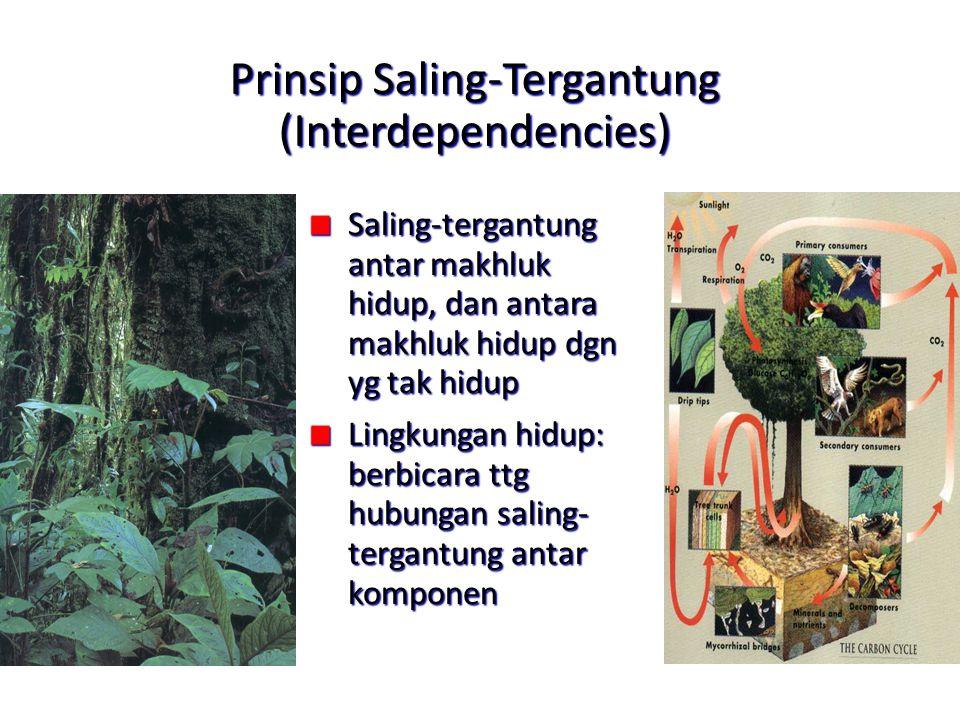 Prinsip Saling-Tergantung (Interdependencies) Saling-tergantung antar makhluk hidup, dan antara makhluk hidup dgn yg tak hidup Lingkungan hidup: berbi
