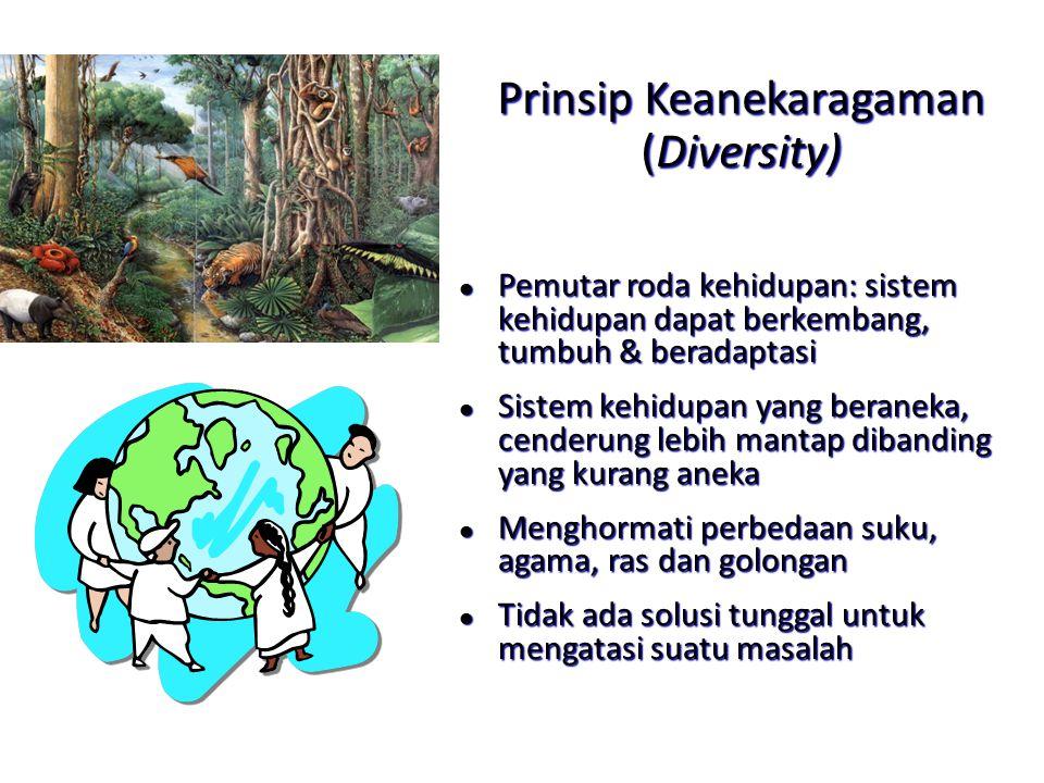 Prinsip Keanekaragaman (Diversity) l Pemutar roda kehidupan: sistem kehidupan dapat berkembang, tumbuh & beradaptasi l Sistem kehidupan yang beraneka,