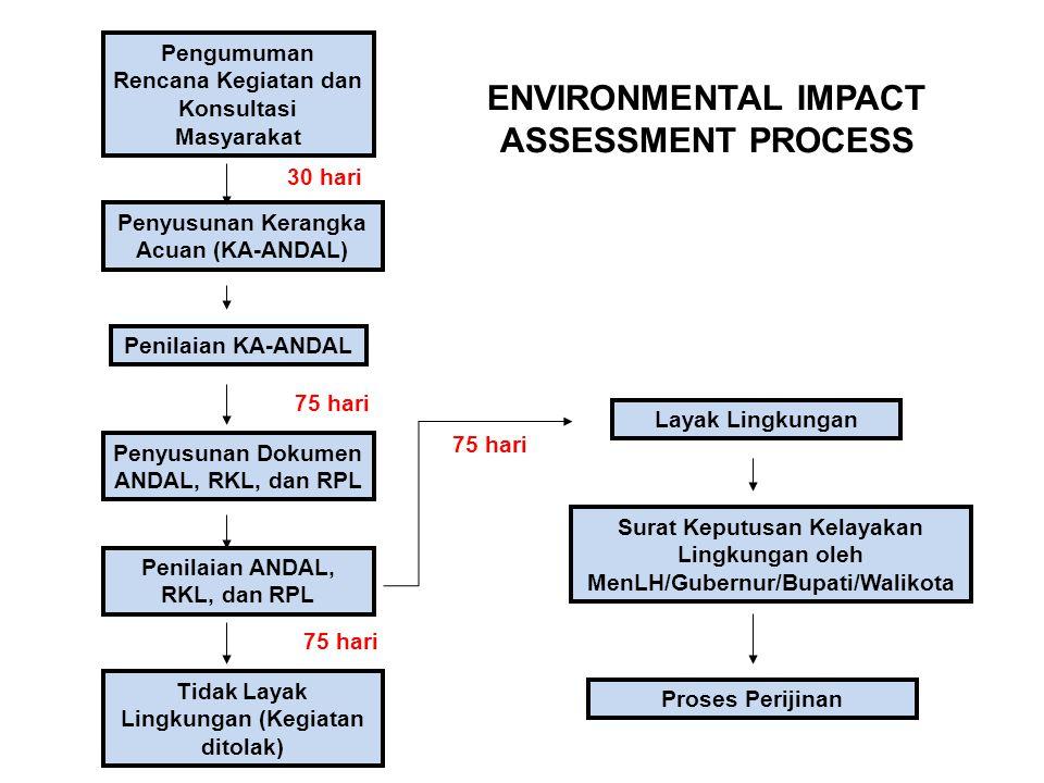 Pengumuman Rencana Kegiatan dan Konsultasi Masyarakat Penyusunan Kerangka Acuan (KA-ANDAL) Penilaian KA-ANDAL Penyusunan Dokumen ANDAL, RKL, dan RPL P