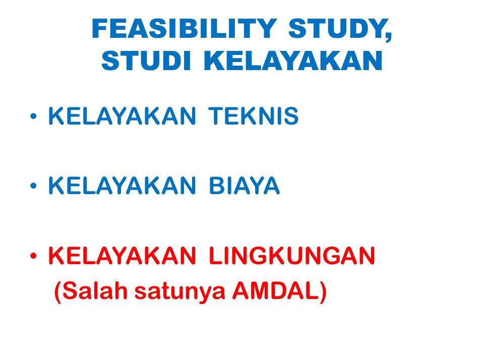 FEASIBILITY STUDY, STUDI KELAYAKAN KELAYAKAN TEKNIS KELAYAKAN BIAYA KELAYAKAN LINGKUNGAN (Salah satunya AMDAL)