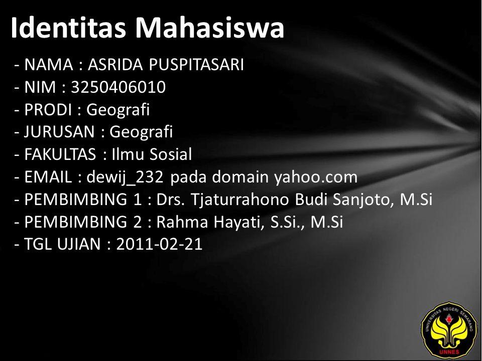Identitas Mahasiswa - NAMA : ASRIDA PUSPITASARI - NIM : 3250406010 - PRODI : Geografi - JURUSAN : Geografi - FAKULTAS : Ilmu Sosial - EMAIL : dewij_232 pada domain yahoo.com - PEMBIMBING 1 : Drs.