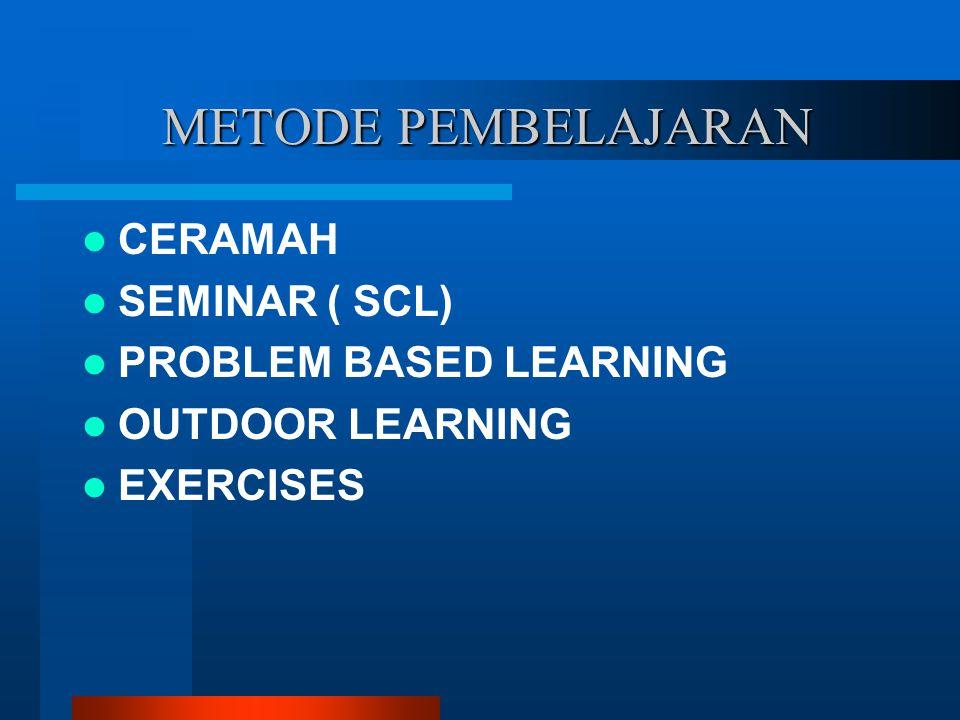 METODE PEMBELAJARAN METODE PEMBELAJARAN CERAMAH SEMINAR ( SCL) PROBLEM BASED LEARNING OUTDOOR LEARNING EXERCISES