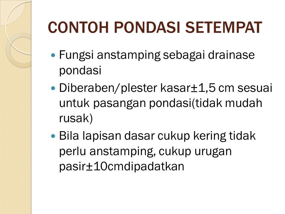 CONTOH PONDASI SETEMPAT Fungsi anstamping sebagai drainase pondasi Diberaben/plester kasar±1,5 cm sesuai untuk pasangan pondasi(tidak mudah rusak) Bil