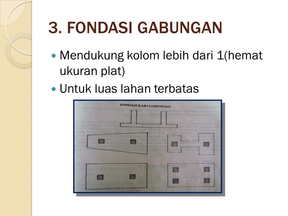 3. FONDASI GABUNGAN Mendukung kolom lebih dari 1(hemat ukuran plat) Untuk luas lahan terbatas