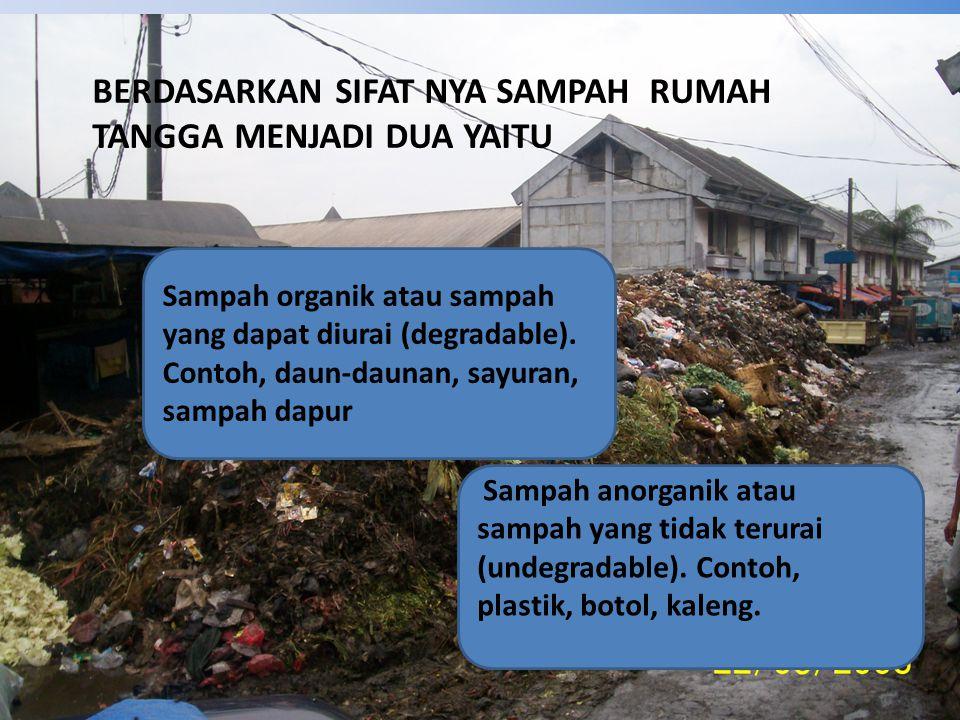 BERDASARKAN SIFAT NYA SAMPAH RUMAH TANGGA MENJADI DUA YAITU Sampah organik atau sampah yang dapat diurai (degradable).