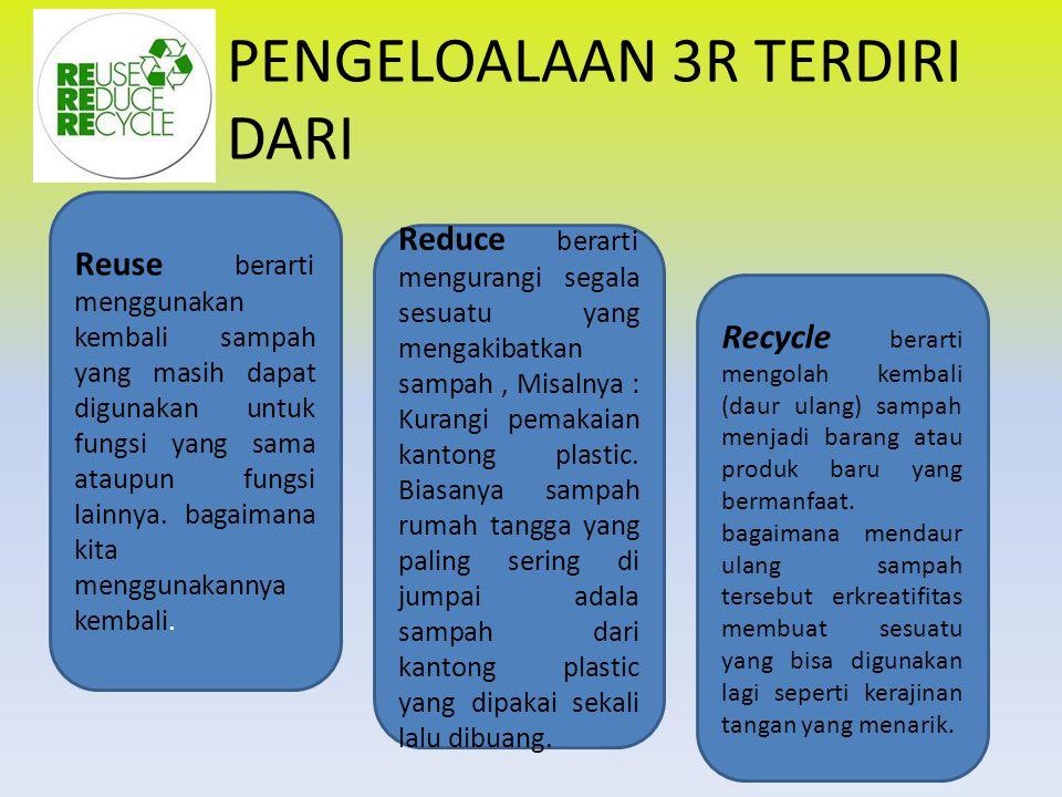PENGELOALAAN 3R TERDIRI DARI Reuse berarti menggunakan kembali sampah yang masih dapat digunakan untuk fungsi yang sama ataupun fungsi lainnya.
