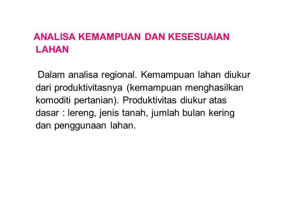 ANALISA KEMAMPUAN DAN KESESUAIAN LAHAN Dalam analisa regional. Kemampuan lahan diukur dari produktivitasnya (kemampuan menghasilkan komoditi pertanian